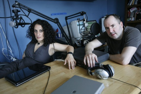 KEITH AND THE GIRL - QUEENS - MAY 25, 2007: Keith Malley and Chema in their radio studio inside their apartment in Queens on May 25, 2007.   (Photo by Michael Nagle)